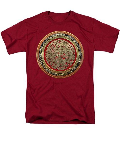 Golden Chinese Dragon On Red Velvet Men's T-Shirt  (Regular Fit) by Serge Averbukh