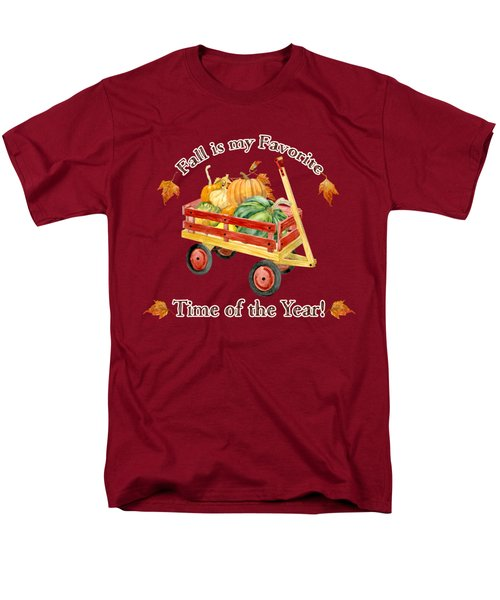 Harvest Red Wagon Pumpkins N Leaves Men's T-Shirt  (Regular Fit) by Audrey Jeanne Roberts