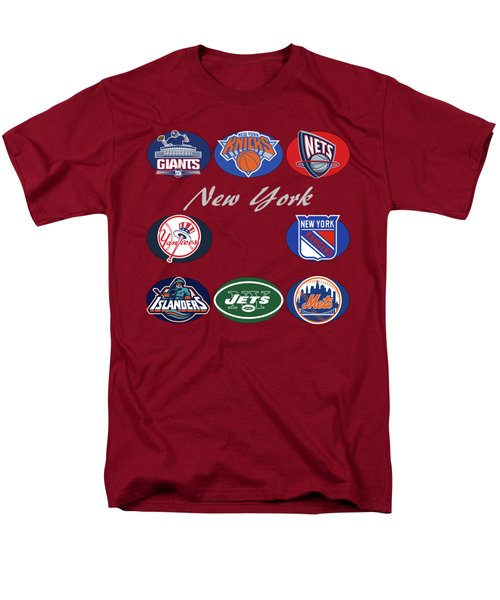 New York Professional Sport Teams Collage  Men's T-Shirt  (Regular Fit) by Movie Poster Prints