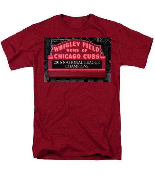 Wrigley Field Marquee Cubs Champs 2016 Front Men's T-Shirt  (Regular Fit) by Steve Gadomski