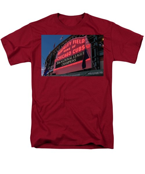 Wrigley Field Marquee Cubs National League Champs 2016 Men's T-Shirt  (Regular Fit) by Steve Gadomski