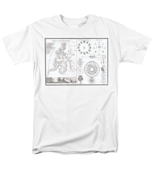 1838 Monin Map or Physical Tableau and Astronomy Chart  T-Shirt by Paul Fearn