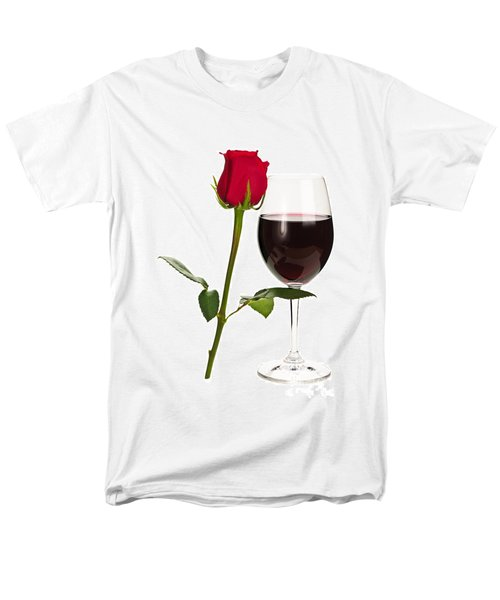 Wine with red rose T-Shirt by Elena Elisseeva