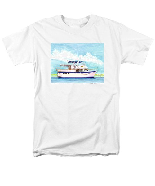 37 foot Marine Trader 37 Trawler yacht at anchor T-Shirt by Jack Pumphrey