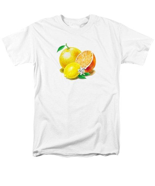A Happy Citrus Bunch Grapefruit Lemon Orange Men's T-Shirt  (Regular Fit) by Irina Sztukowski