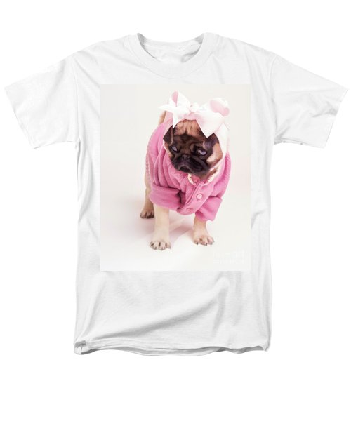 Adorable Pug Puppy in Pink Bow and Sweater T-Shirt by Edward Fielding