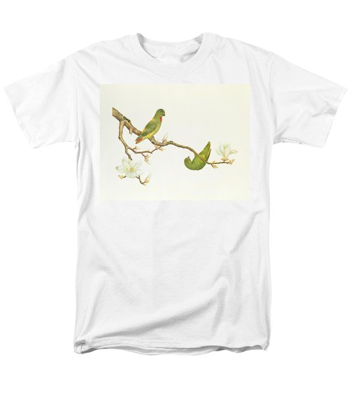 Blue Crowned Parakeet Hannging On A Magnolia Branch Men's T-Shirt  (Regular Fit) by Chinese School