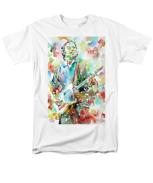 BRUCE SPRINGSTEEN PLAYING the GUITAR WATERCOLOR PORTRAIT.3 T-Shirt by Fabrizio Cassetta