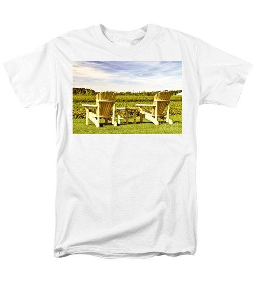 Chairs overlooking vineyard T-Shirt by Elena Elisseeva