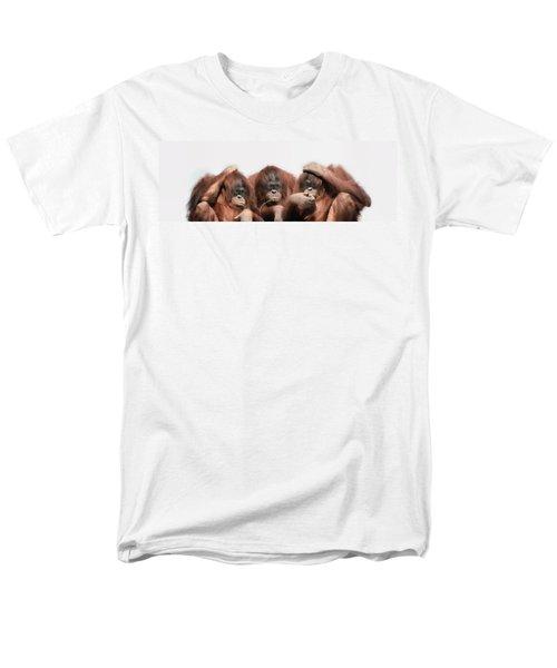 Close-up Of Three Orangutans Men's T-Shirt  (Regular Fit) by Panoramic Images