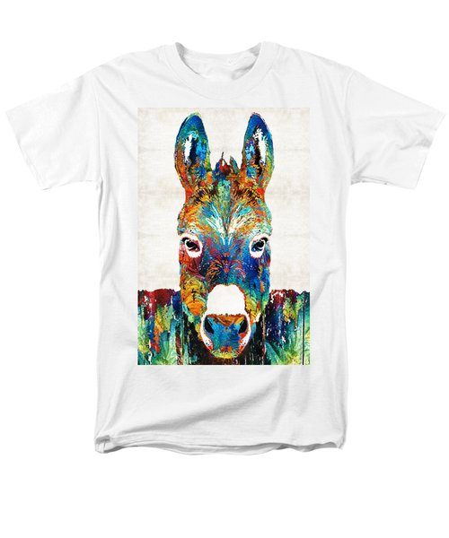 Colorful Donkey Art - Mr. Personality - By Sharon Cummings Men's T-Shirt  (Regular Fit) by Sharon Cummings