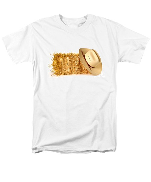 Cowboy Hat on Straw Bale T-Shirt by Olivier Le Queinec