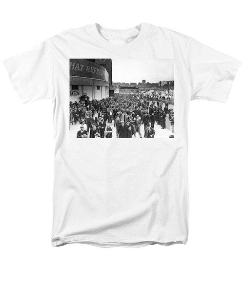 Fans Leaving Yankee Stadium. Men's T-Shirt  (Regular Fit) by Underwood Archives