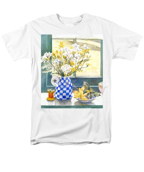 Freesias And Chequered Jug T-Shirt by Julia Rowntree