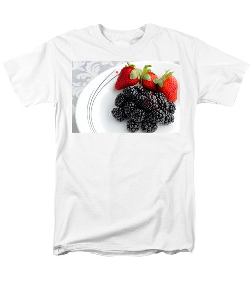 Fruit V - Strawberries - Blackberries T-Shirt by Barbara Griffin