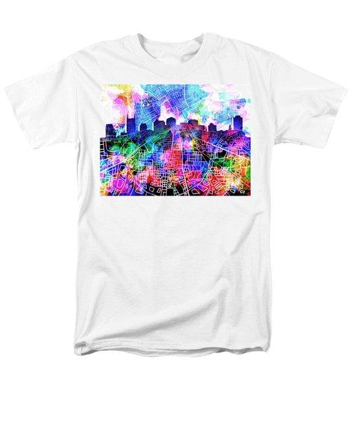 Nashville Skyline Watercolor 5 Men's T-Shirt  (Regular Fit) by Bekim Art