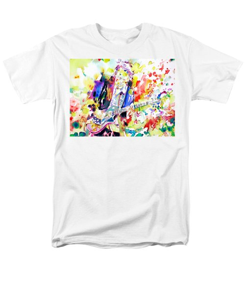 Neil Young Playing The Guitar - Watercolor Portrait.2 Men's T-Shirt  (Regular Fit) by Fabrizio Cassetta