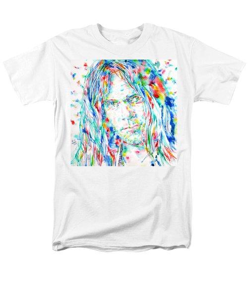Neil Young - Watercolor Portrait Men's T-Shirt  (Regular Fit) by Fabrizio Cassetta
