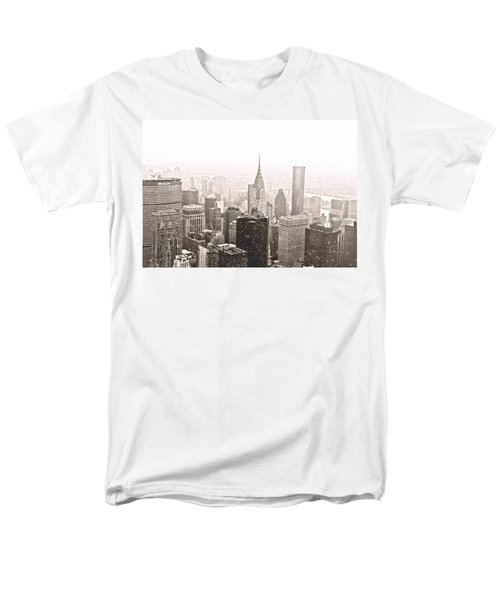 New York Winter - Skyline In The Snow Men's T-Shirt  (Regular Fit) by Vivienne Gucwa