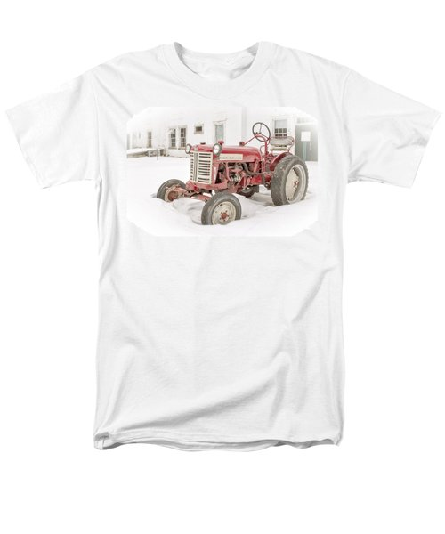 Old Red Tractor in the snow T-Shirt by Edward Fielding