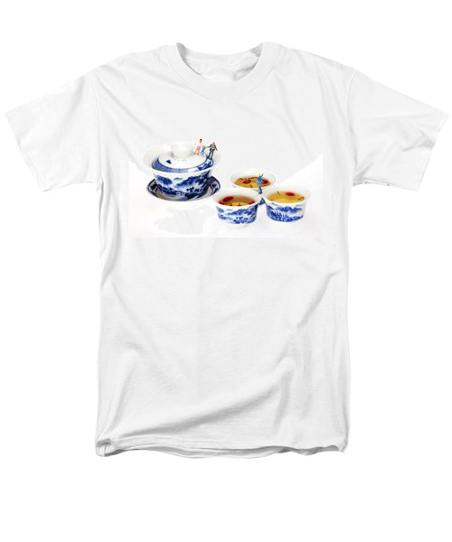 Playing among blue-and-white porcelain little people on food T-Shirt by Paul Ge