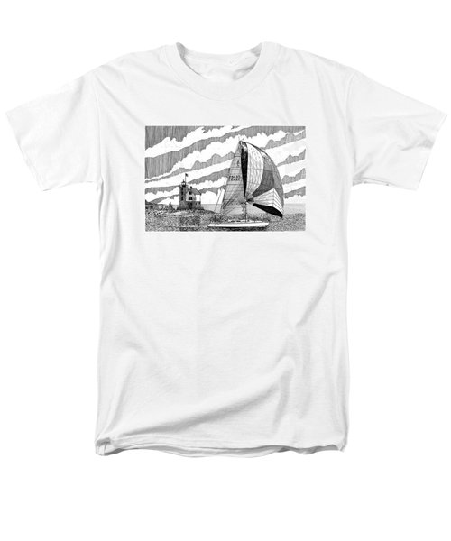 Holland Harbor Lighthouse and spinaker flying sailboat T-Shirt by Jack Pumphrey