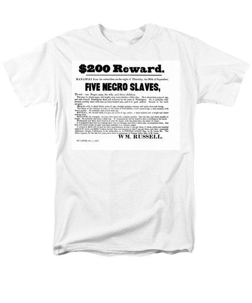 SLAVE FAMILY and CHILDREN ESCAPE - REWARD POSTER - 1847 T-Shirt by Daniel Hagerman
