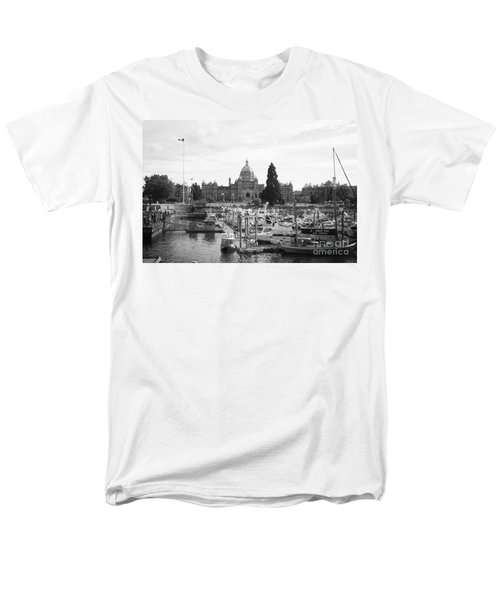 Victoria Harbour with Parliament Buildings - Black and White T-Shirt by Carol Groenen