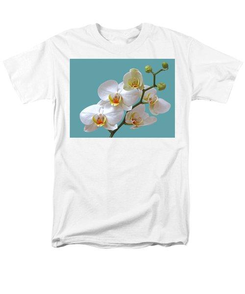 White Orchids On Ocean Blue Men's T-Shirt  (Regular Fit) by Gill Billington