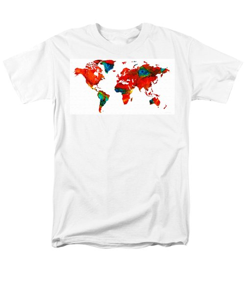 World Map 12 - Colorful Red Map by Sharon Cummings T-Shirt by Sharon Cummings