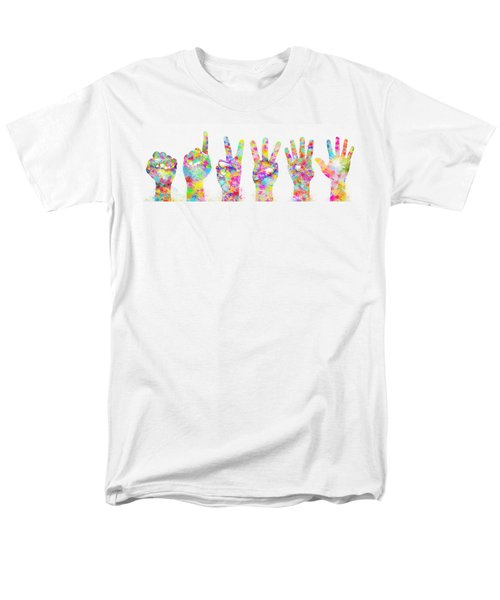 colorful painting of hands number 0-5 T-Shirt by Setsiri Silapasuwanchai