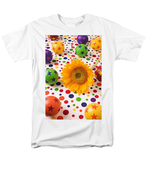 Sunflower and colorful balls T-Shirt by Garry Gay