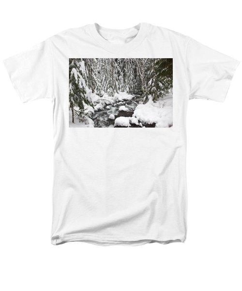 Winter Snow Along Still Creek In Mt T-Shirt by Craig Tuttle