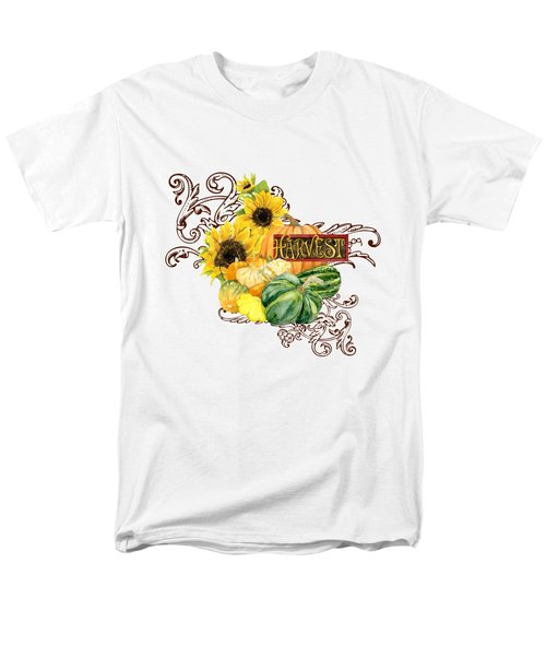Celebrate Abundance - Harvest Fall Pumpkins Squash N Sunflowers Men's T-Shirt  (Regular Fit) by Audrey Jeanne Roberts
