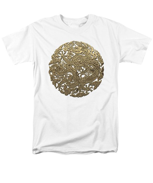 Golden Chinese Dragon White Leather  Men's T-Shirt  (Regular Fit) by Serge Averbukh