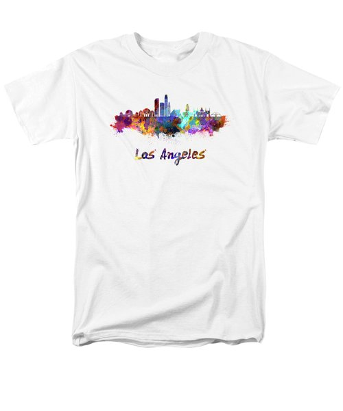 Los Angeles Skyline In Watercolor Men's T-Shirt  (Regular Fit) by Pablo Romero