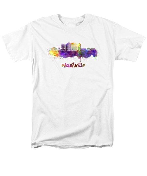 Nashville Skyline In Watercolor Men's T-Shirt  (Regular Fit) by Pablo Romero