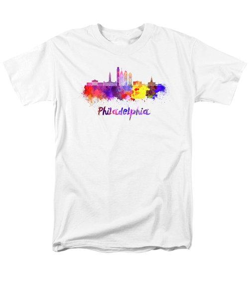Philadelphia Skyline In Watercolor Men's T-Shirt  (Regular Fit) by Pablo Romero