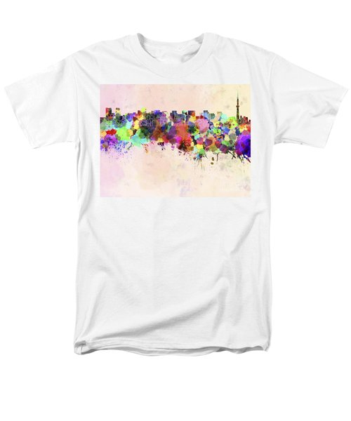 Tokyo Skyline In Watercolor Background Men's T-Shirt  (Regular Fit) by Pablo Romero