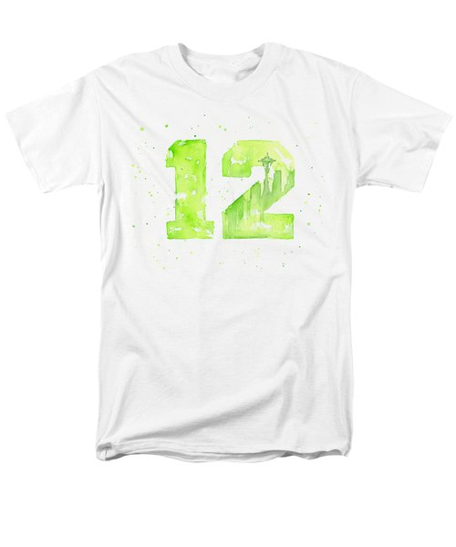12th Man Seahawks Art Go Hawks Men's T-Shirt  (Regular Fit) by Olga Shvartsur