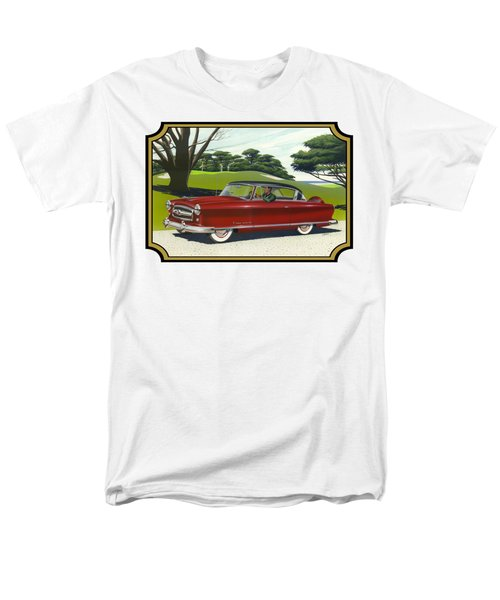 1953 Nash Rambler Car Americana Rustic Rural Country Auto Antique Painting Red Golf Men's T-Shirt  (Regular Fit) by Walt Curlee