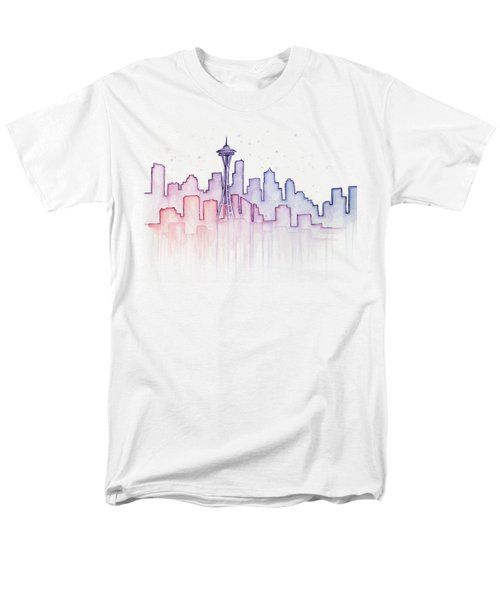 Seattle Skyline Watercolor Men's T-Shirt  (Regular Fit) by Olga Shvartsur