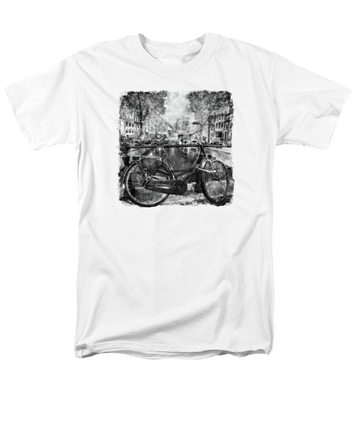 Amsterdam Bicycle Black And White Men's T-Shirt  (Regular Fit) by Marian Voicu