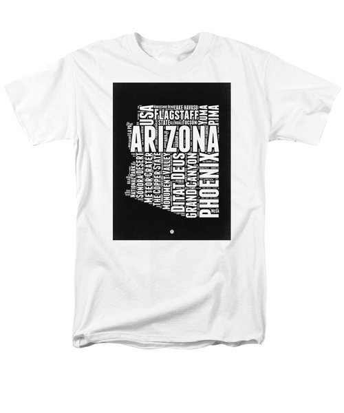 Arizona Black And White Word Cloud Map Men's T-Shirt  (Regular Fit) by Naxart Studio