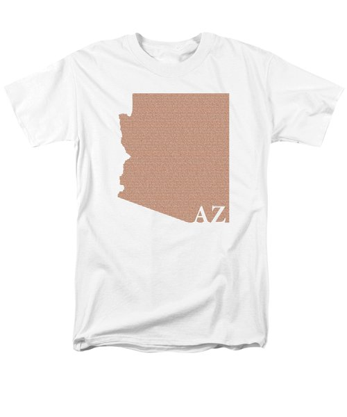 Arizona State Map With Text Of Constitution Men's T-Shirt  (Regular Fit) by Design Turnpike