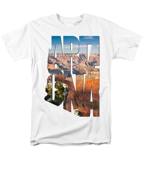 Arizona Typography - Grand Canyon At Sunset Men's T-Shirt  (Regular Fit) by Gregory Ballos