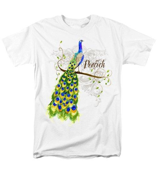 Art Nouveau Peacock W Swirl Tree Branch And Scrolls Men's T-Shirt  (Regular Fit) by Audrey Jeanne Roberts