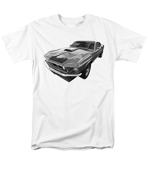 428 Cobra Jet Mach1 Ford Mustang 1969 In Black And White Men's T-Shirt  (Regular Fit) by Gill Billington