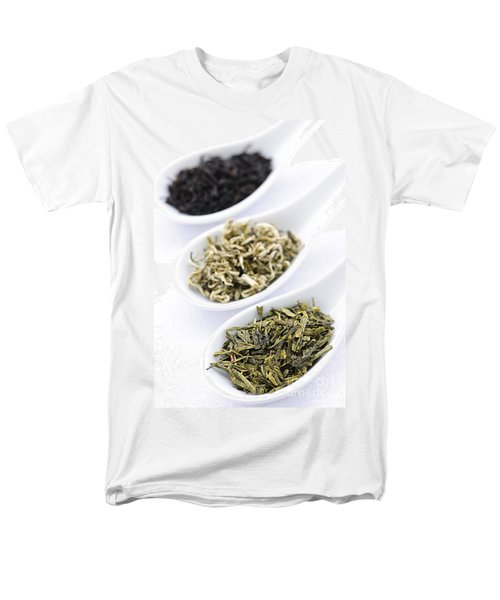 Assortment of dry tea leaves in spoons T-Shirt by Elena Elisseeva