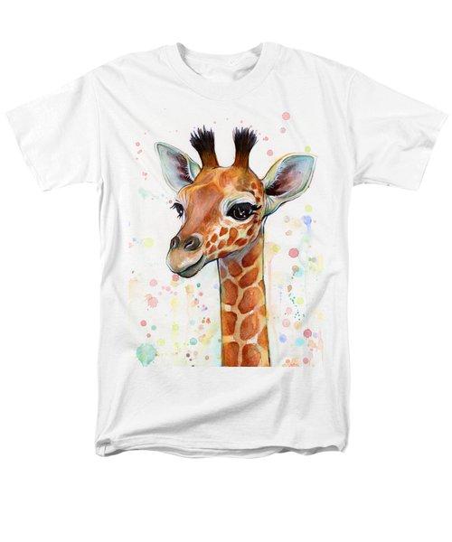 Baby Giraffe Watercolor  Men's T-Shirt  (Regular Fit) by Olga Shvartsur